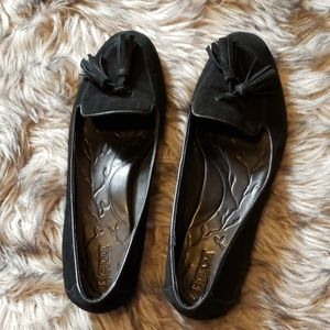 BORN black suede tassel loafers size 10M